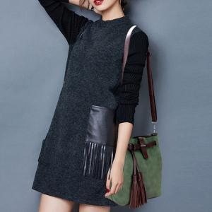 Leisure Tassels and PU Leather Design Crossbody Bag For Women - GREEN