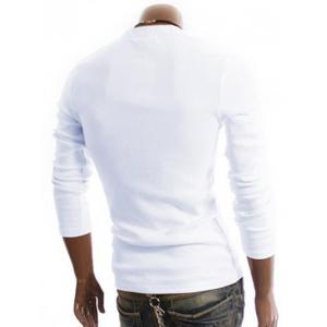 Long Sleeve Half Button Embellished T-Shirt - WHITE 2XL