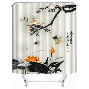 Chinese Ink Painting Waterproof Bath Decor Shower Curtain - Beige - 100*250cm