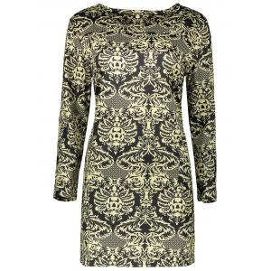 Plus Size Long Sleeve Paisley Dress - Black - 4xl