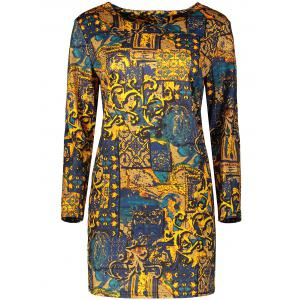Plus Size Long Sleeve Print Bodycon Mini Dress