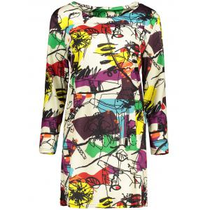 Plus Size Abstract Graffiti Mini Dress - Off-white - Xl