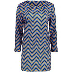 Plus Size  Colored Zigzag Sheath Dress