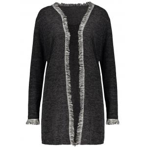 Plus Size Fringed Cardigan - Deep Gray - Xl