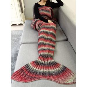 Ombre Striped Chunky Crochet Knit Mermaid Blanket Throw - Red