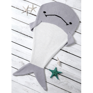 Color Block Knit Dolphin Shape Blanket Throw For Baby - Light Gray