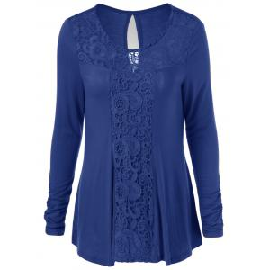 Long Sleeve Cut Out Lace Trim T-Shirt