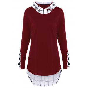 Hooded Plaid Trim Curved T-Shirt