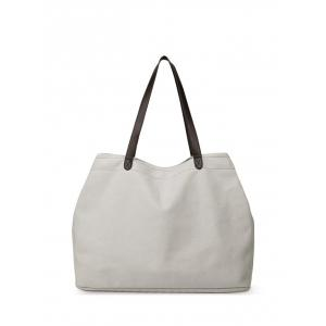 Casual Canvas Stitching Shoulder Bag - Off-white