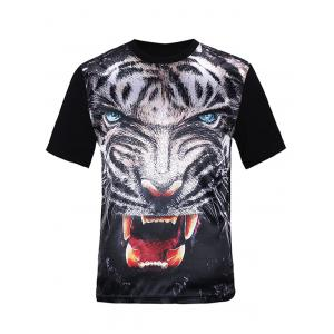 Silk Imitation 3D Fierce Tiger Print T-Shirt