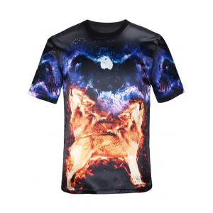 Short Sleeves 3D Animal Graphic T-Shirt - Black - L