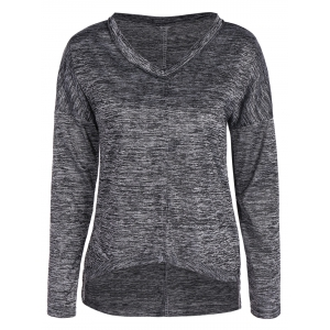 High Low V Neck Long Sleeve T-Shirt