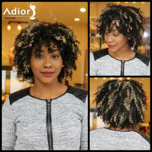 Adiors Short Highlight Side Bang Fluffy Curly Synthetic Wig