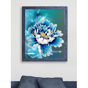 DIY Handmade Beads Peony Painting Cross Stitch - Blue