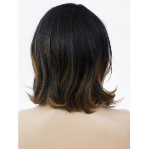 Medium Side Parting Bob Curly Colormix Lace Front Human Hair Wig -