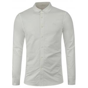 Embroidered Long Sleeve Button Down Shirt - White - S