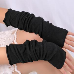 Knitted Ribbed Fingerless Plain Arm Warmers