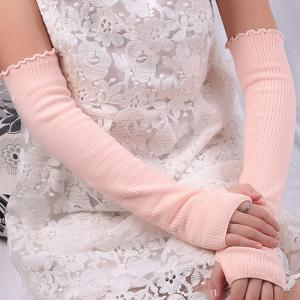 Knitted Ribbed Fingerless Plain Arm Warmers - PINK