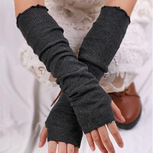 Knitted Ribbed Fingerless Plain Arm Warmers - Deep Gray
