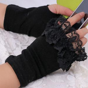 Knitted Fingerless Hand Gloves with Lace Trim -