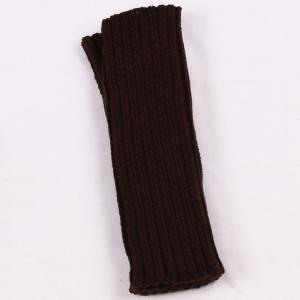 Knitted Ribbed Plain Wrist Warmers Hand Gloves - Dark Coffee