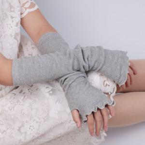 Knit Fingerless Arm Warmers with Flouncing Edge - Light Gray - One Size(fit Size Xs To M)