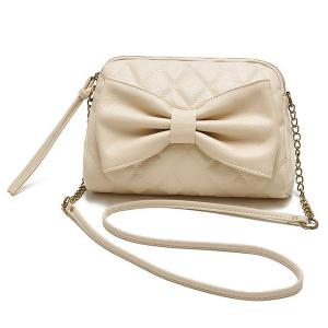 Bow Checked Crossbody Bag - Off-white