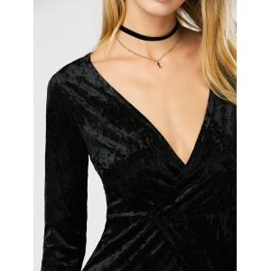 Velvet Long Sleeve Maxi High Slit Prom Dress - BLACK S
