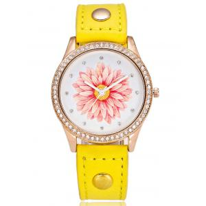 Artificial Leather Watchband Flower Rhinestone Watch - Yellow