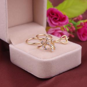 Tree Leaves Heart Circle Ring Set