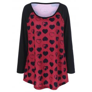 Cute Heart Print Plus Size Raglan Sleeves T-Shirt - Black And Red - Xl