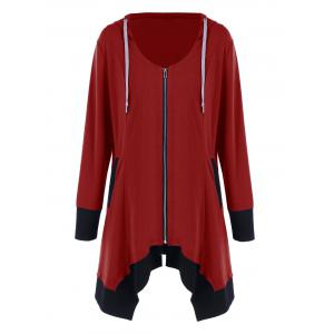 Plus Size Zip Up Asymmetrical Hoodie - Black And Red - 3xl