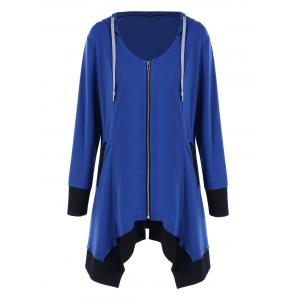 Plus Size Zip Up Asymmetrical Hoodie - Blue And Black - 4xl