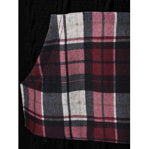 Plaid Cable Knit Tunic Sweater - BLACK 5XL