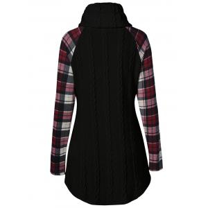 Plaid Cable Knit Tunic Sweater - BLACK 3XL