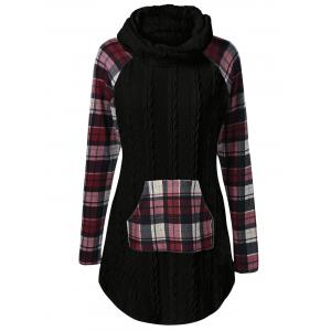 Plaid Cable Knit Tunic Sweater - Black - M