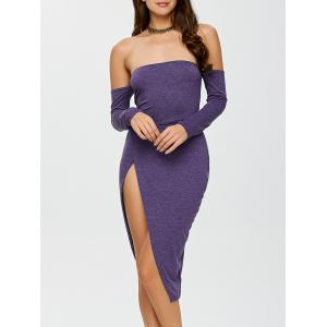 Off The Shoulder Slit Bodycon Night Out Dress - Purple - M