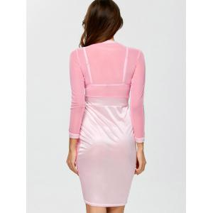 See Through Long Sleeve Bandage Club Dress - PINK L
