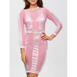 See Through Long Sleeve Bandage Club Dress - Pink - S