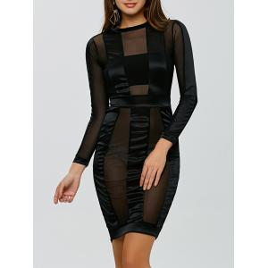 See Through Long Sleeve Bandage Club Dress - Black - L