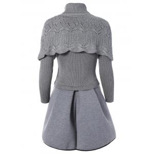 Turtleneck Openwork Cape and Ribbed Ball Dress -