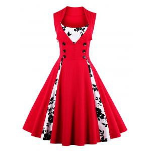 Fit and Flare Print Vintage Tea Length Dress