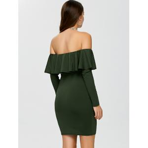 Flounce Long Sleeve Off The Shoulder Bodycon Dress - ARMY GREEN M