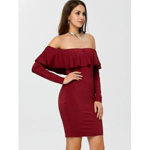 Flounce Long Sleeve Off The Shoulder Bodycon Dress -