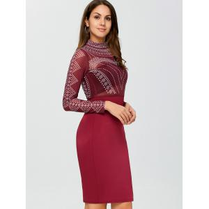 Mesh Insert Polka Dot Knee Length Bodycon Dress - DEEP RED S