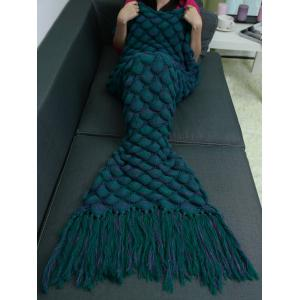 Fish Scales Tassel Design Crochet Mermaid Tail Blanket - Blue Green
