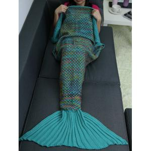 Home Sofa Rhombus Design Knitted Throw Bed Mermaid Blanket