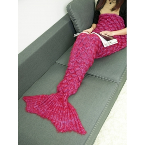 Soft Knitted Throw Bed Wrap Mermaid Blanket - Deep Red - M