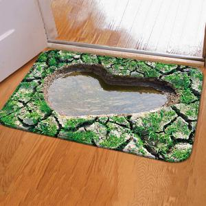 3D Heart Pool Design Water Absorption Door Floor Carpet - Green - 40cm*60cm