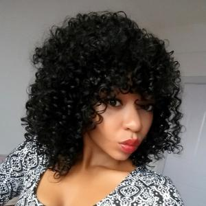 Medium Afro Curly Side Bang Synthetic Wig - BLACK